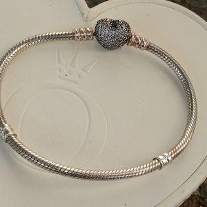 "Pandora Bracelet with Pave Heart Clasp 7.25"""